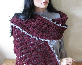 Handmade crochet Burgundy and gray wool scarf openwork patterns (the beret is already sold)