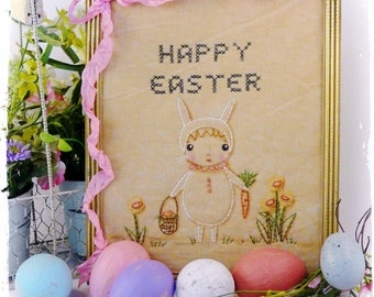 Easter  bunny embroidery PDF Pattern - cute girl stitchery primitive frame egg hunt cross stitch daffodil