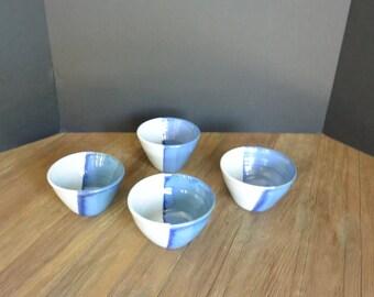 Set of 4 Blue and White Hand-Made Ceramic Bowls