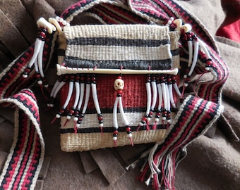 Twined bag with inkle loomed strap, hemp and cotton