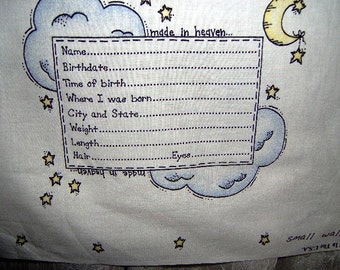 Baby Album Birth Announcement fabric panel