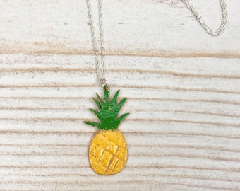 Pineapple pendant, pineapple necklace, tropical necklace, enamel pineapple, copper enamel pendant, kitsch pineapple necklace