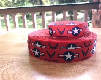 Red and Blue  Air Force inspired  7/8 inch Grosgrain Airforce ribbon   BTY By the Yard High Quality~ Air Force Wing