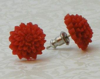 Mum Flower Earrings - Red