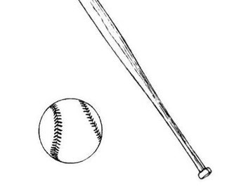 Baseball and Bat unmounted rubber stamps sports summer, softball, Father's Day, Sweet Grass Stamps No.15