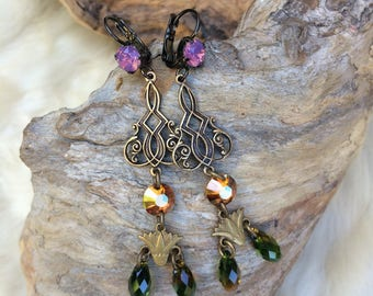 "Art nouveau, brass and ""Lotus"" swarovski crystal earrings"