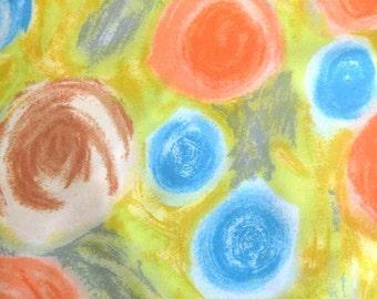 Vintage Polished Cotton Dress Fabric / Abstract Floral Print / Polka Dot Print / Yellow Lime Orange Light Blue - Vintage Yardage