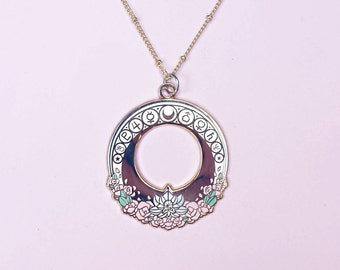 Magical Girl Moon Crescent Enamel Necklace - Sailor Moon scouts senshi pendant - 26 Inch Gold Plated Chain - Art Nouveau Unique Gift
