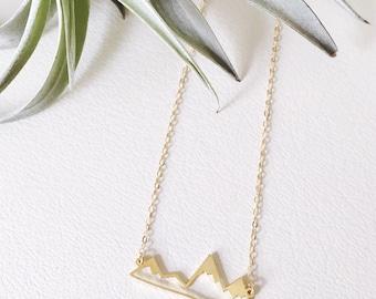 Mountain Outline Necklace, Mountain Range Necklace, Mountain Necklace, Nature Necklace, Mountain Bar Necklace