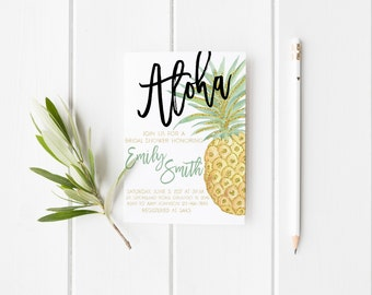 Aloha Gold Glitter Pineapple Bridal Shower Watercolor Bridal Shower Party Invitation Summer Tropical Wedding Party Invitation Printable
