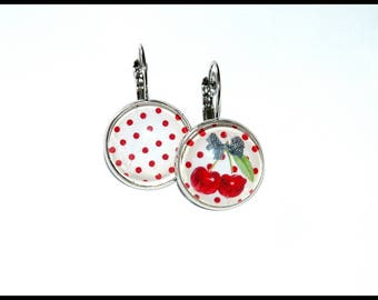 Earrings cherry and polka dots
