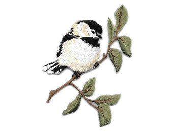 Chickadee On A Branch - Bird - Bird Watching - Embroidered Iron On Applique Patch
