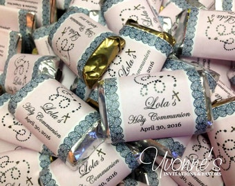Rosary Bead Communion Mini Candy Bar Wrappers / Miniature Chocolate Bar Favors - Baptism, Christening Communion, Confirmation, Religious
