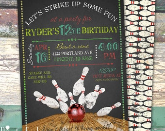 Bowling Chalkboard Personalized Birthday Printable Invitation Print at Home