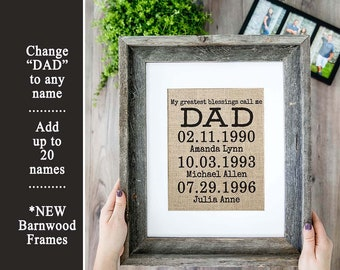Personalized Fathers Day Gift from Daughter Gift for Dad from Son Custom Father's Day Fathers Day Photo Frame Daddy's Girl Children Dad Gift