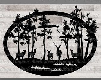 Deer Nature Scene SVG - Mailbox Decal - Cabin - Cut File - Silhouette - Cricut - Wood Sign - Vinyl Decal - Stencil - Lake House - Mountain