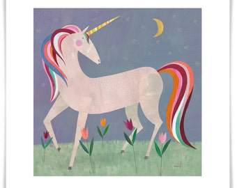 Fairytale Unicorn, Giclee Art Print, Girls Room or Nursery Decor, Unicorn Gift, Framing Available