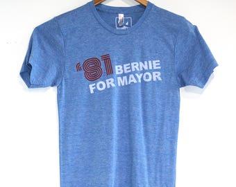 Bernie Sanders for Burlington Mayor '81 Faux Vintage American Apparel Athletic Blue Tri Blend Tee