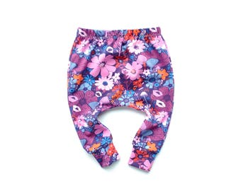 Purple Floral Baby Leggings. Enchanted Woodland Scene Harem Pants.  Bright Leggings for Babies.  Cuff Leggings.  Baby Girl Clothes Handmade