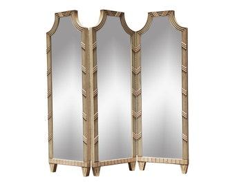 Vintage Large Hollywood Regency Mirrored Pagoda Room Screen