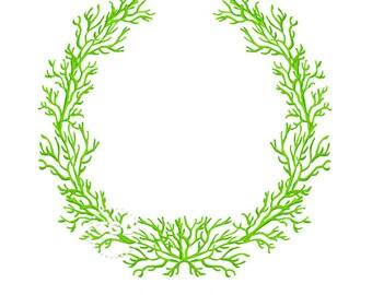Green Coral Frame - Original art download, green coral wreath, coral frame, preppy frame, preppy pink theme, preppy coral