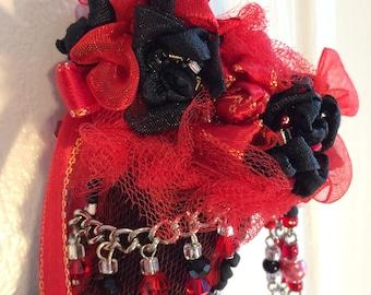 Black Red Fabric Christmas Stocking Ornament Handmade Pearls