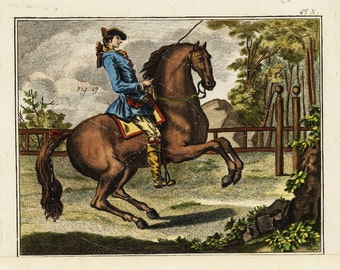 Original Antique Hand Colored Engraving of a Horse and a horse man from 1780's