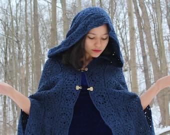 Medieval cloak, Crochet hooded  cape - Long sleeveless coat - Hooded cloak coat