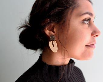 Wooden earrings/ Beetle Earrings