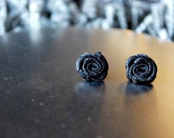 Black Rose Studs -- Earrings, Tiny Black Roses, Silver