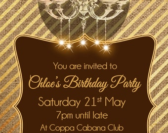 Printed Personalised Adult Birthday Party Invitations  X10