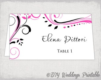 """Place card template Pink and Black """"Scroll"""" name cards -DIY wedding printable place card templates hot pink and black Word instant download"""