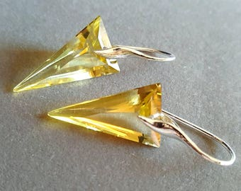 Lemon Yellow Topaz Minimalist Modern Inverted Drop Earrings on Sterling Silver Gift For Her