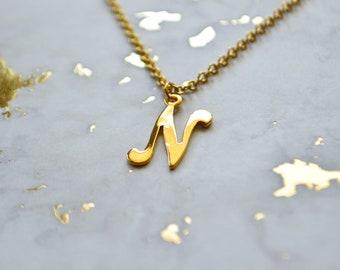 Jahrgang N - Monogramm Kette - Buchstabe N - Vintage Initial-Charme - Monogramm - erste Schmuck - Brief Halskette