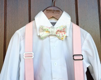 Easter Bowtie, Childs Easter Outfit, Little Boy Easter, Easter print bowtie, Easter suspender outfit, boy Easter outfit, pink suspender set
