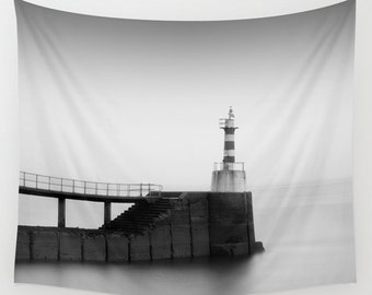 Lighthouse tapestry, lighthouse wall art, wall tapestry, wall hanging, large wall art, black and white décor, oversized art, art tapestry
