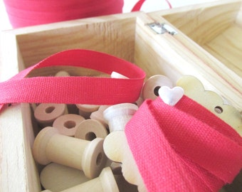 20 Yards Red Cotton Ribbon 10mm - Made in Italy - 100% Cotton - Red Ribbon - 20 yards