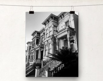 Black and White Photo, San Francisco Architecture, Victorian Houses