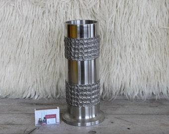 Handmade vase stainless steel 2300g heavy weight design 22 cm at 1970