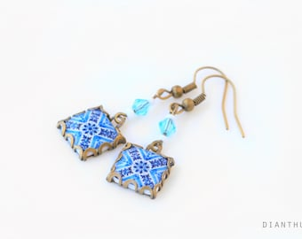 Porto. Vintage patterned earrings Tile earrings with art nouveau style  Blue and white.