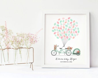 Baby shower Bicycle Fingerprint guestbook, Tandem bicycle thumbprint guest book alternative, Birthday gift, Digital file printable, DIY