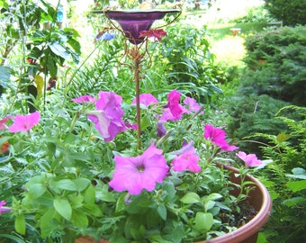 "CONTAINER GARDENING, Butterfly Feeder, stained glass, 4.75"" diameter, PLUM Purple, copper, garden stake, Garden Art"