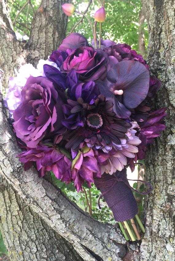 Dark purple silk flowers bridal boquet country chic trend like this item mightylinksfo