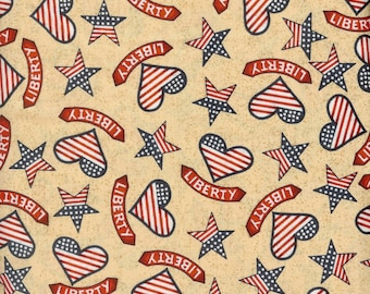 Liberty Hearts on beige background. 100% cotton fabric, sold ( multiple lengths)  #82