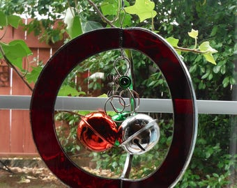 Christmas Bells, Jingle inside Sphere, Stained Glass Whirl, Hand Made Suncatcher, Christmas Ornament