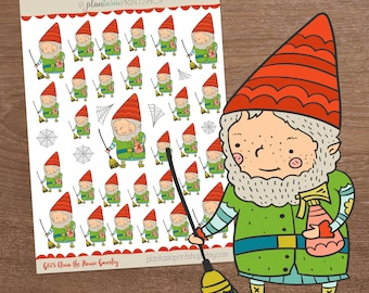 Clean the House Gnarley, Gnome Stickers, Planner Stickers, Cleaning Stickers, Plantasia PrintShop, Chores Stickers, Sweeping