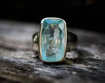 Aquamarine Ring 8 - Gorgeous Aquamarine Ring - March birthstone ring - Ring Size 8 - Sterling Silver Ring - Aquamarine Ring Aqua Ring 8