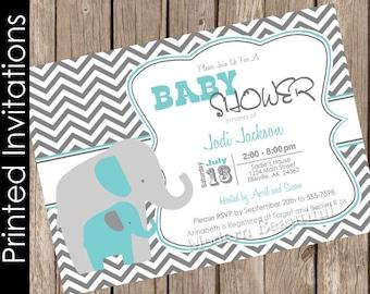 Gray and turquoise blue baby shower invitation elephant baby shower invitation baby boy baby shower  invitation(FREE ENVELOPES) ET01