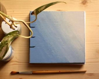 Quaderno, taccuino blu, rilegatura copta, handmade