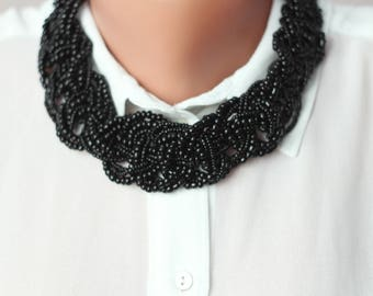 Black seed Beads Necklace Seed Bead Necklace Beaded Bib Necklace Bead Necklace black Statement Necklace simple gift for her gift for mom